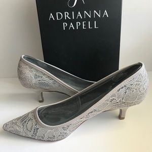 Adrianna Papell Lois Lace Kitten Pumps-Silver